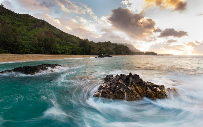 Beach on Hanalei Bay in Hanalei, Hawaii