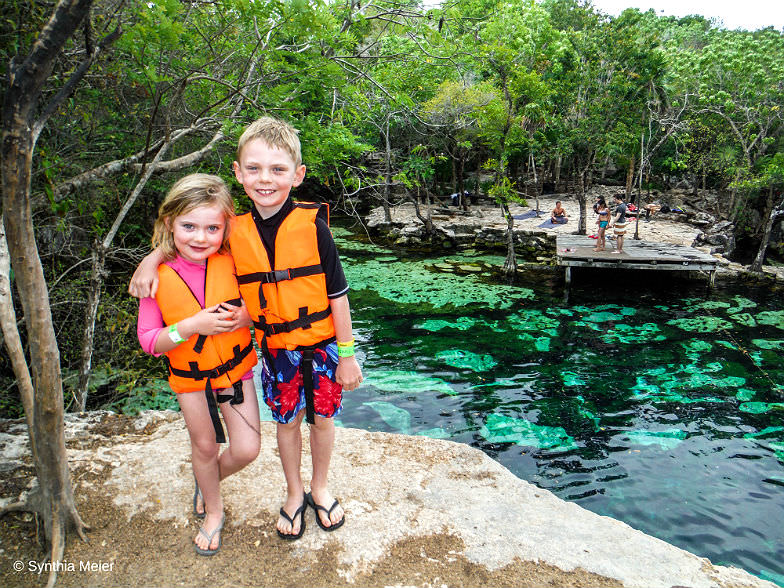 Cenotes are perfect for kids because they can swim without currents.