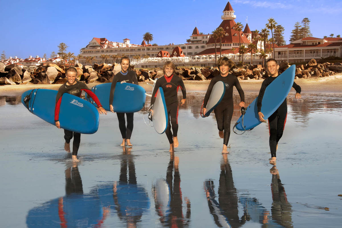 Surfing lessons at Hotel del Coronado