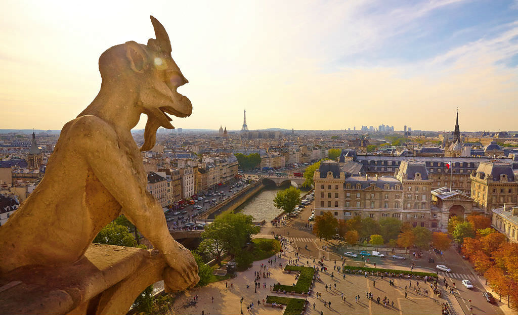 Paris panoramic view from top of Notre Dame cathedral