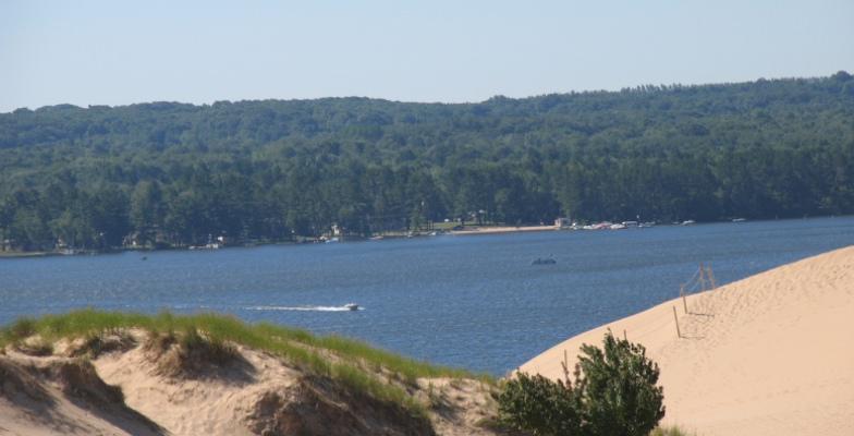 Sand boarding near Lake Michigan