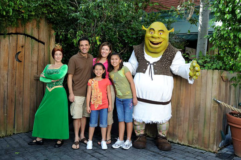 Family hanging out with Shrek at Universal Studios Hollywood