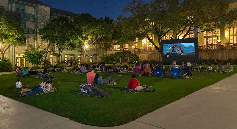 Outdoor movie night at the Hyatt Regency Hill Country Resort & Spa