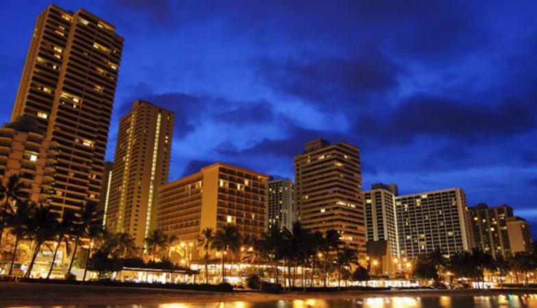 Aston at the Waikiki Banyan at night