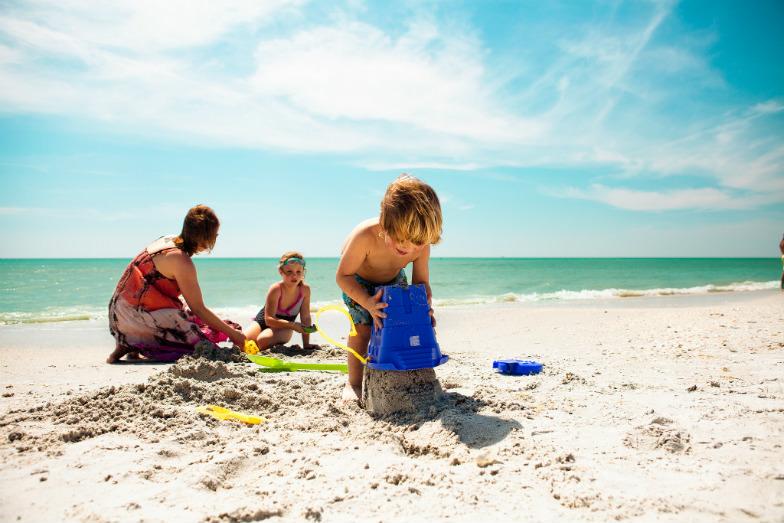 Building sand castles in St. Petersburg, Florida