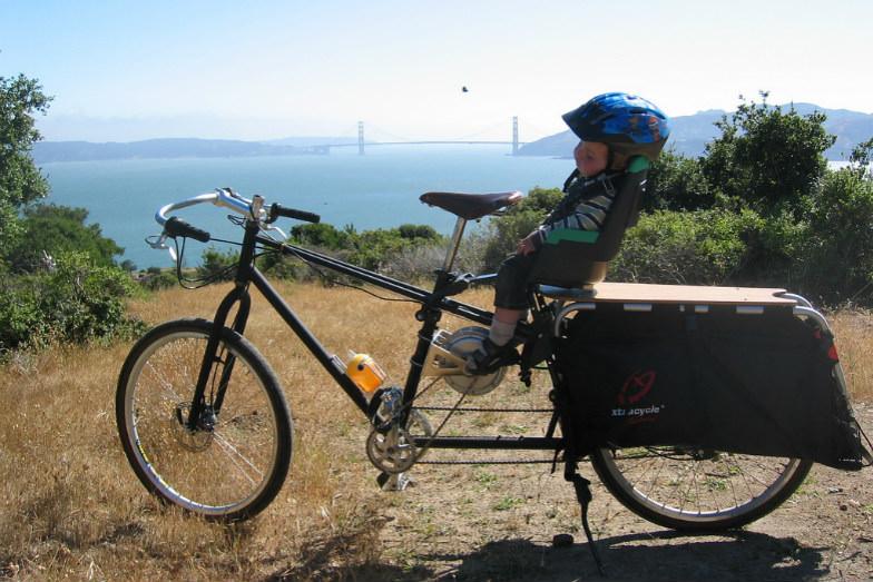 Sleeping child on a cycling trip around Angel Island, San Francisco.