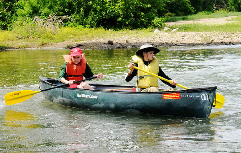 Kayaking in the Caddo River with kids