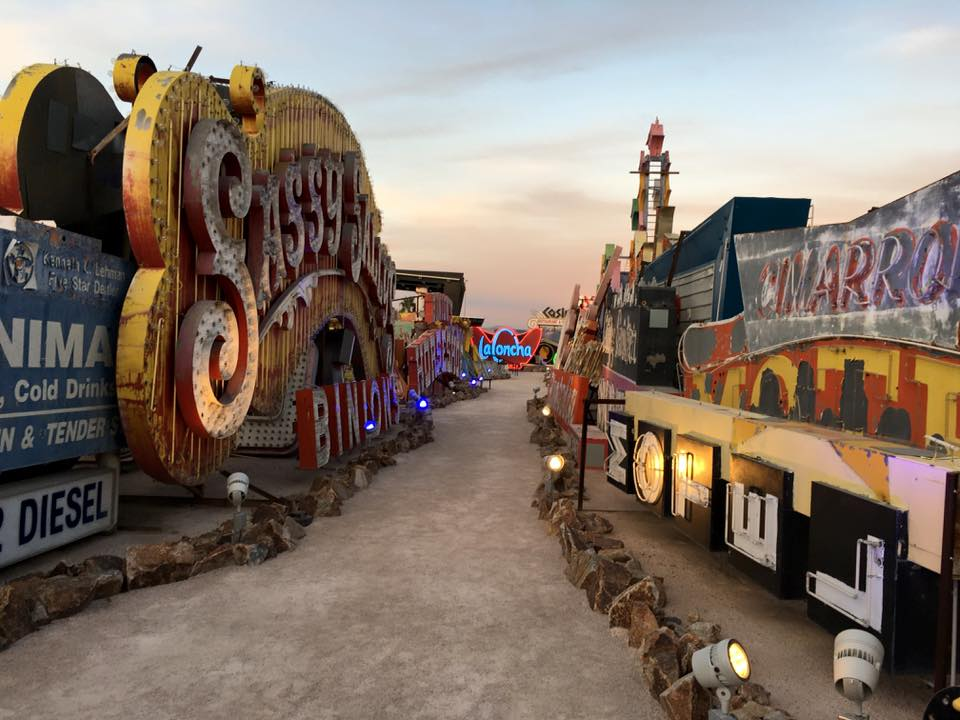 Neon lights at the Neon Museum are popular with hip families