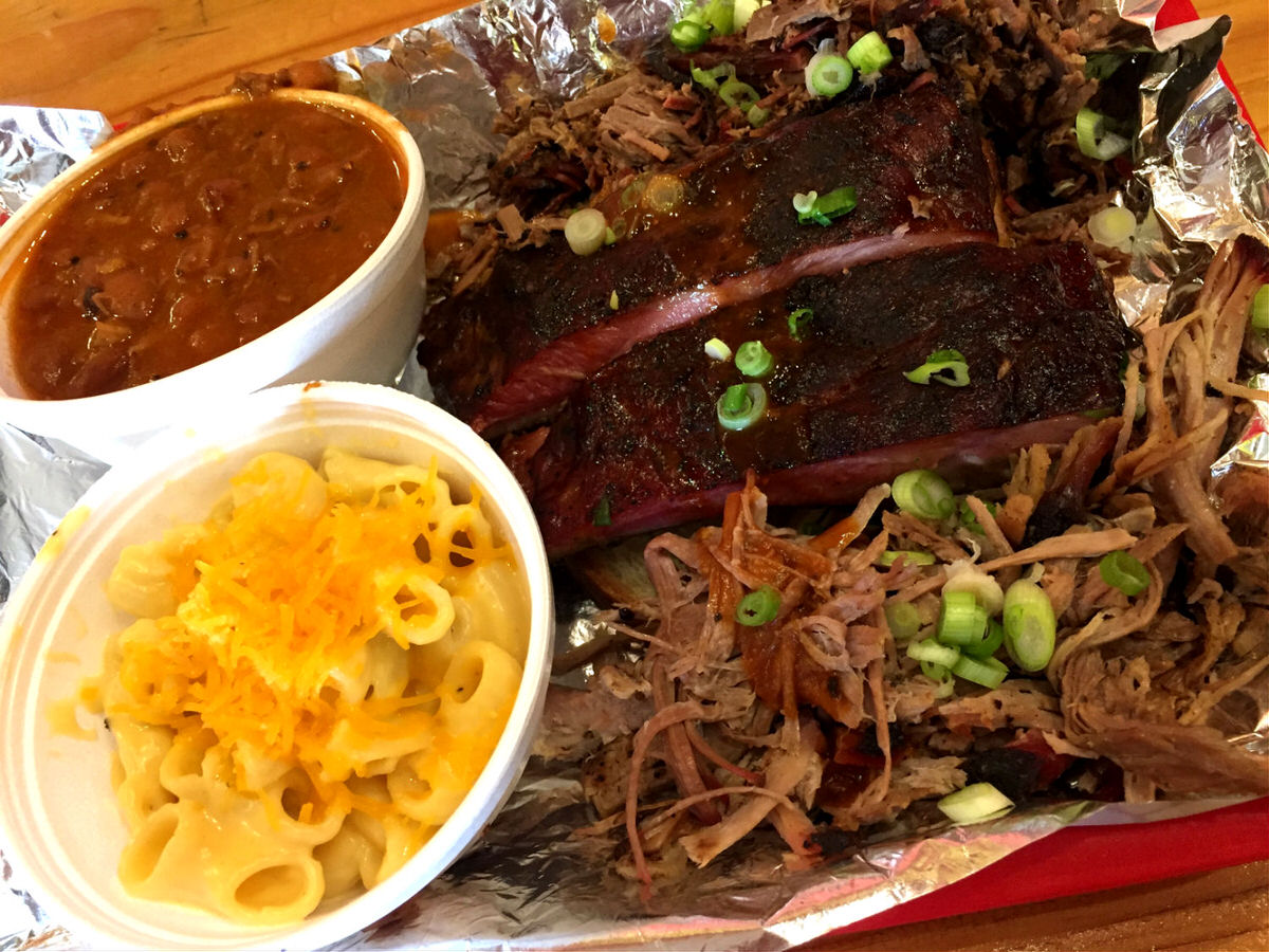 Ribs, brisket, pulled pork, beans, and mac and cheese at Rollin Smoke Barbeque