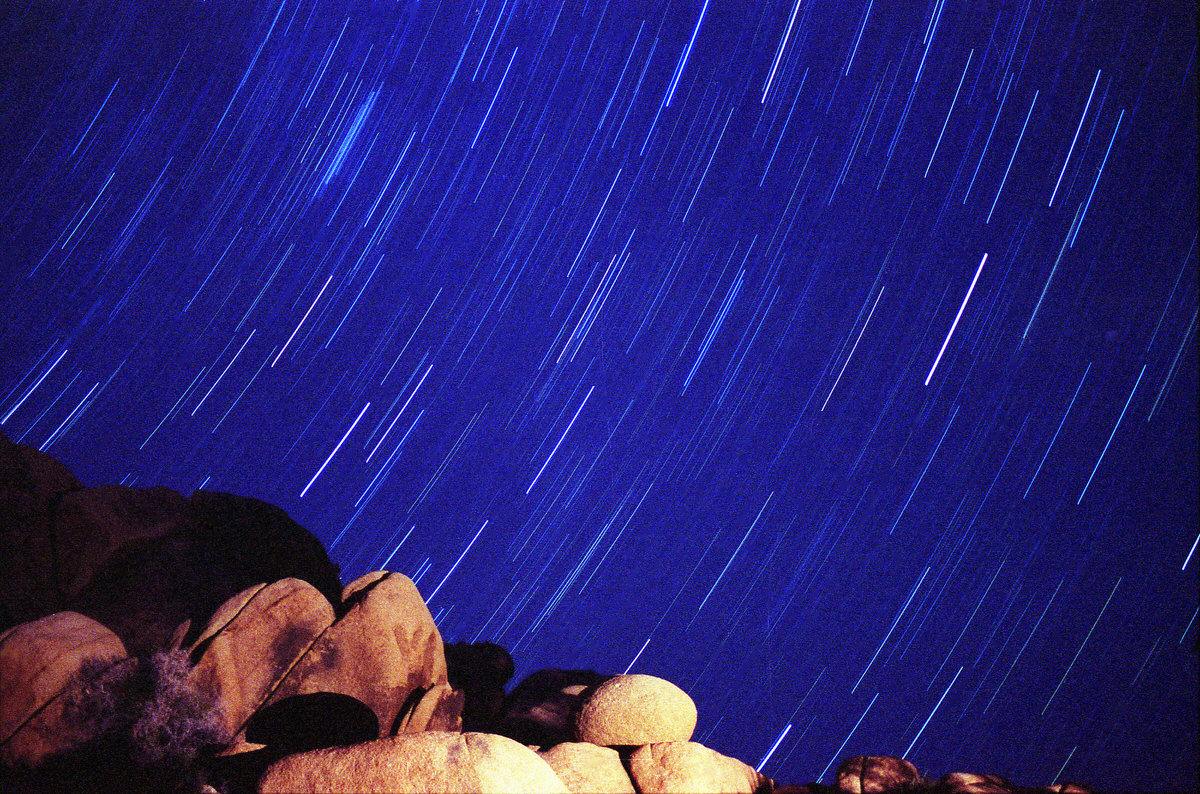 Star trails over California