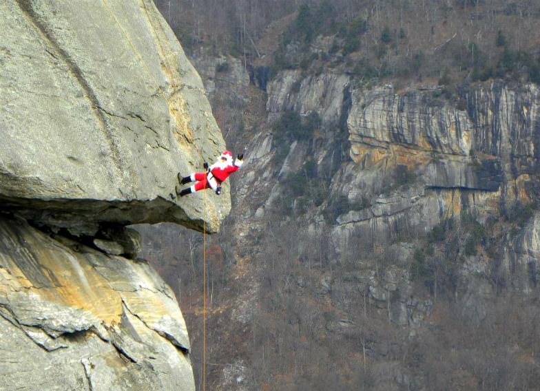 Rappelling Santa in Chimney Rock, North Carolina