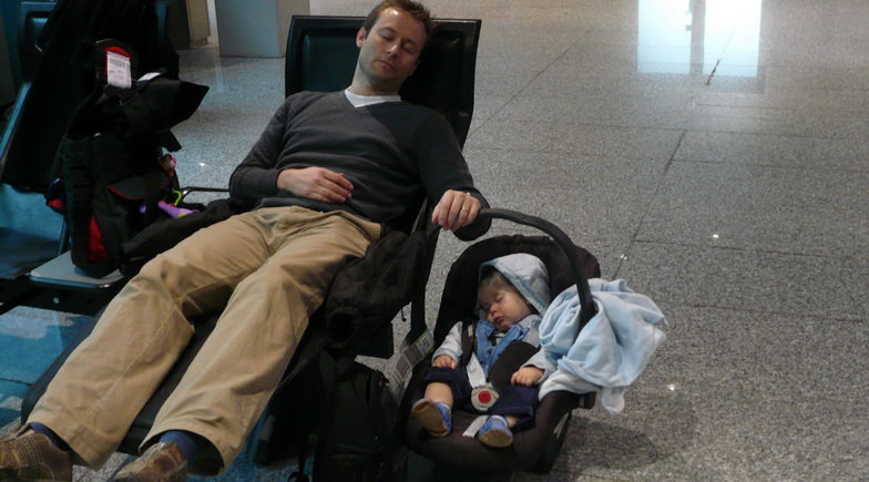 Take a quick nap at the airport.