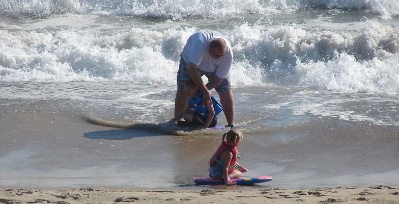 Kids and Dad at Beach