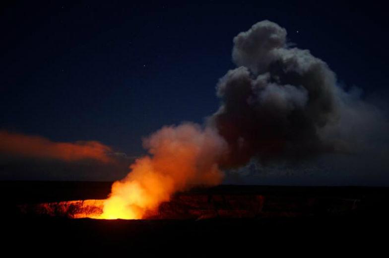 Halema'uma'u at night in the Hawaii Volcanoes National Park