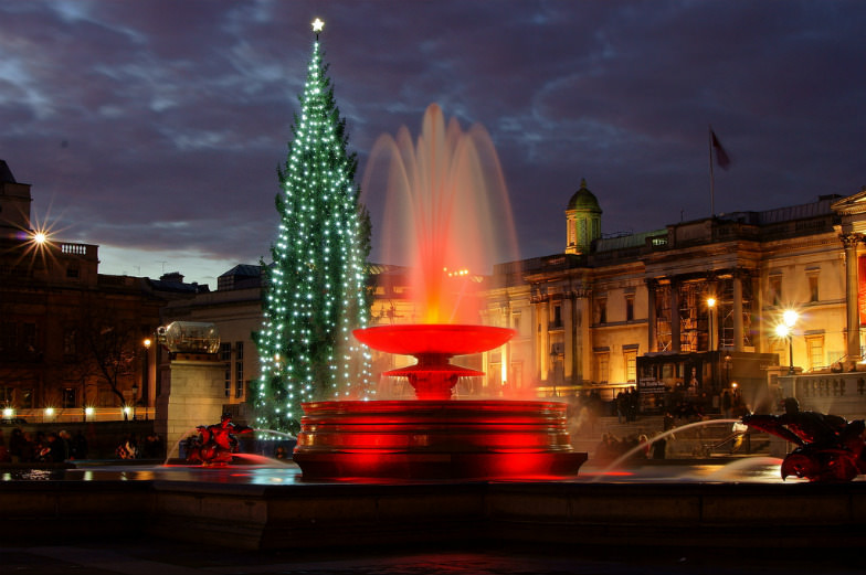 Trafalgar Square's famous Christmas tree and fountain in London
