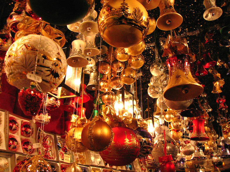 Christmas ornaments at a Christmas market in Nuremberg. Germany