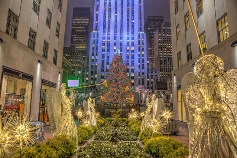 Christmas tree and angels at the Rockefeller Center