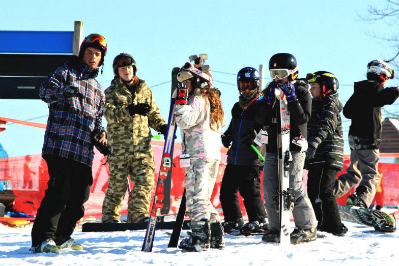 Ski students at Mountain Creek Resort