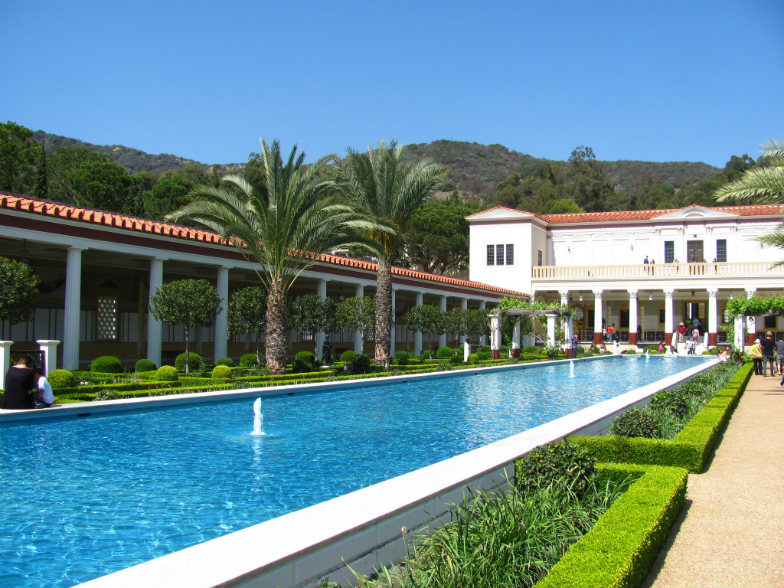 Pool and fountains at the Getty Villa