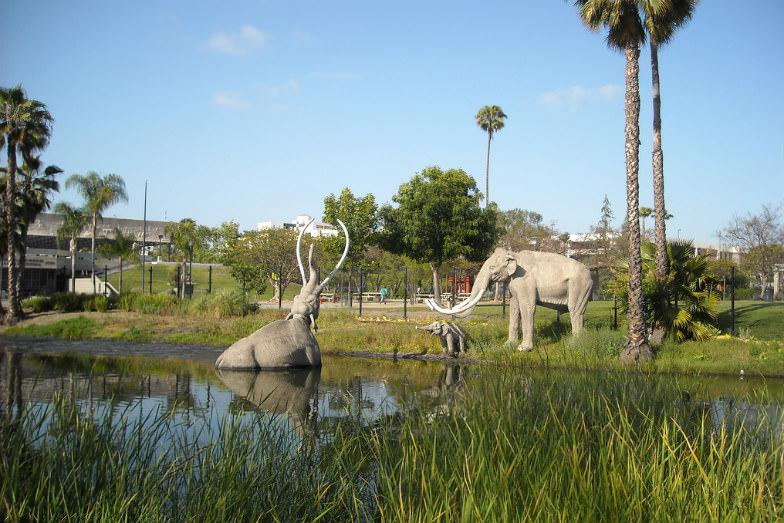 Mammoth models at the La Brea Tar Pits