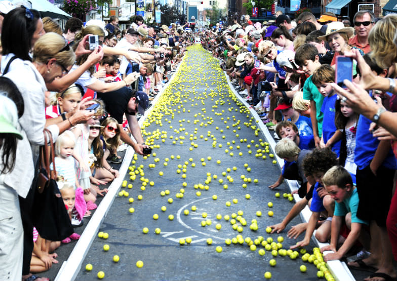 Running of the Balls during Park City's Miner's Days