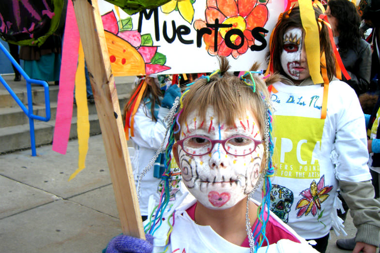 Kids at a Day of the Dead parade