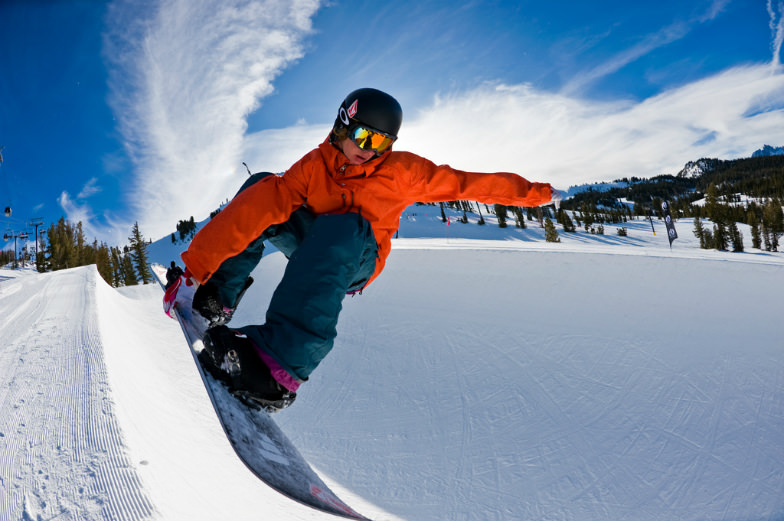 Young snowboarder at Mammoth Mountain