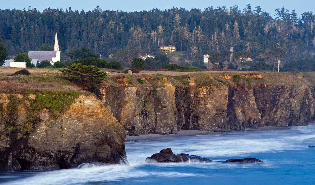 Mendocino coast at sunset, one of California's most picturesque towns
