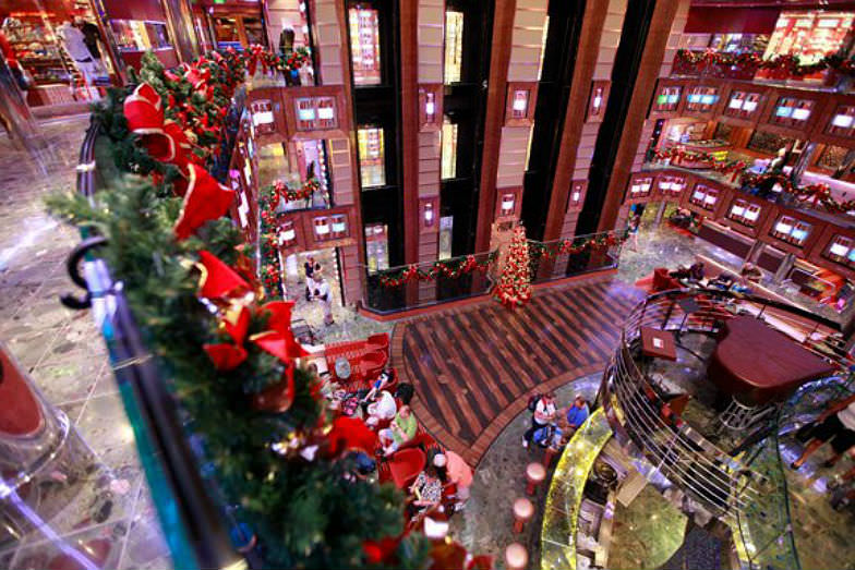 Holiday decorations on the Carnival Dream