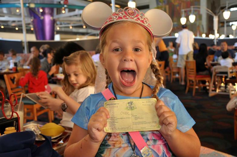 All smiles with her Disney fast pass