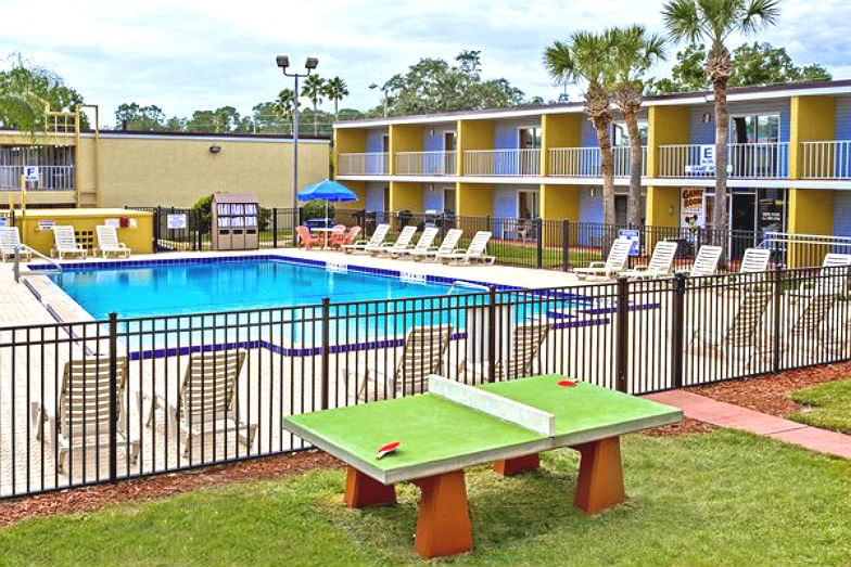 Pool and recreation area at Celebration Suites