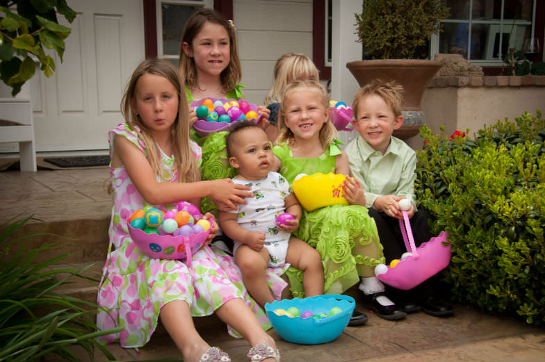 Easter egg hunt with kids