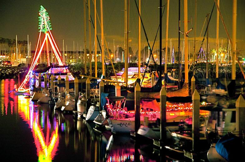 Lights and boats at the Ventura Harbor