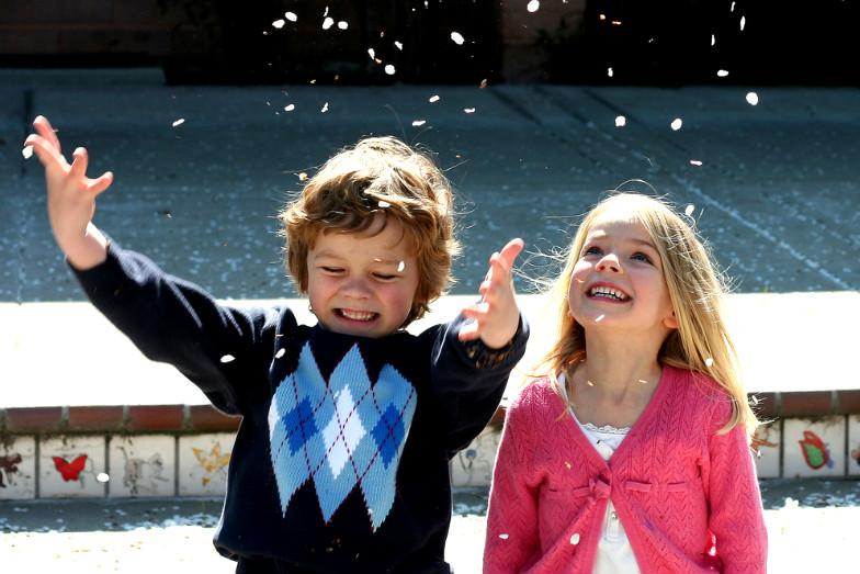 Kids enjoying springtime in California