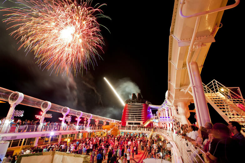 Spectacular fireworks to end the day on a Disney cruise