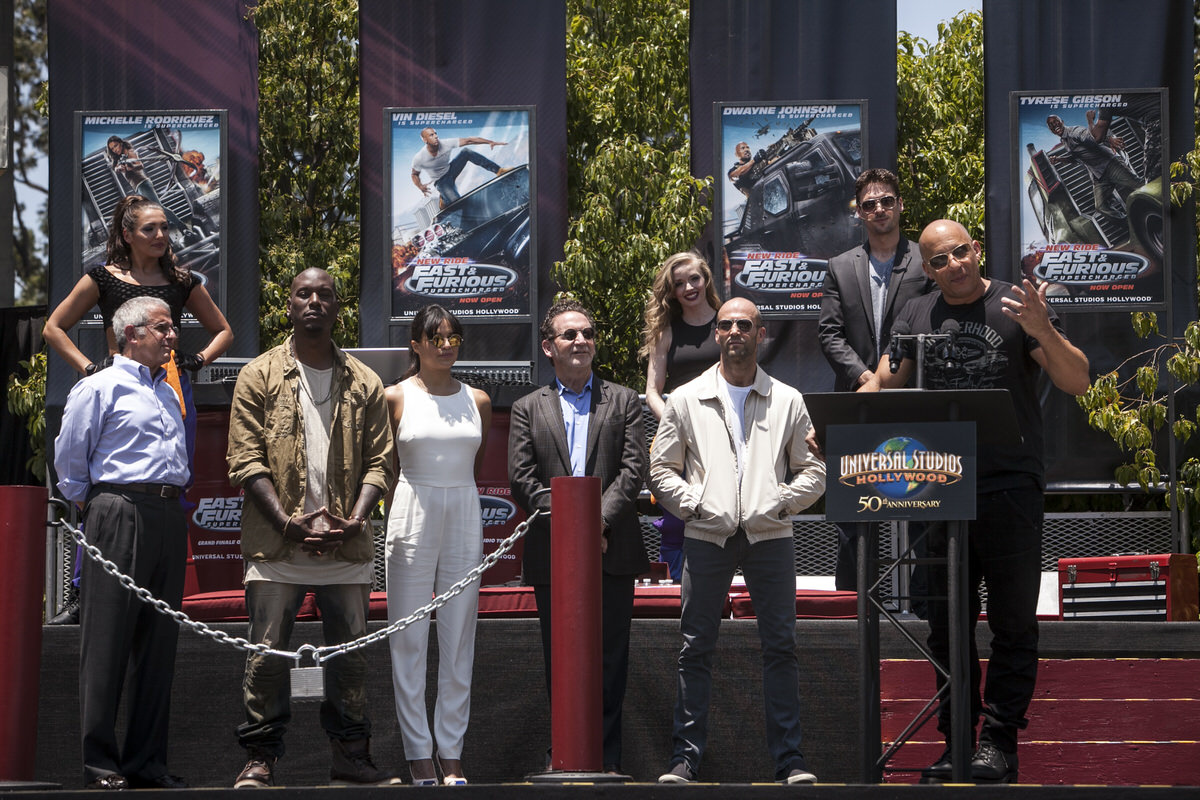 Fast & Furious 7 cast opens the new ride.