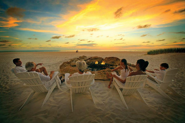 Family bonfire at Sandpearl Resort