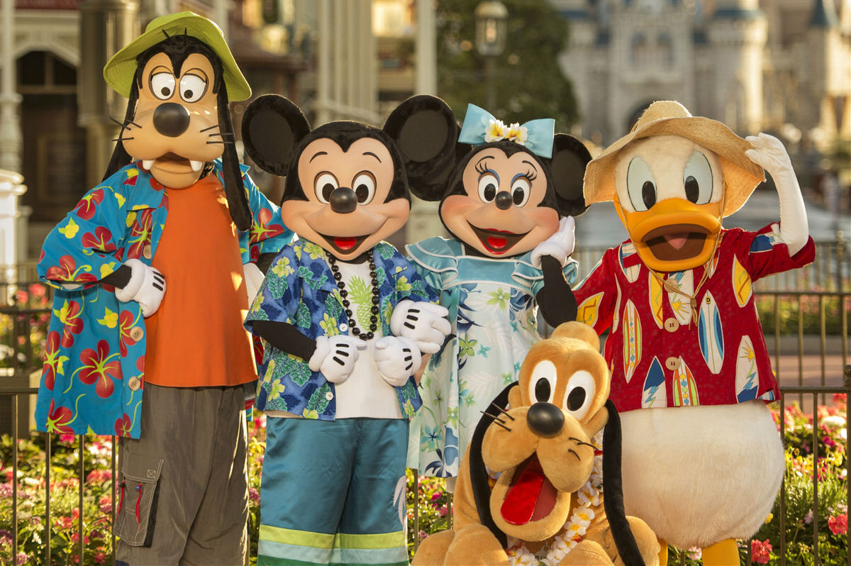 Goofy, Mickey, Minnie, Donald Duck and Pluto at Disney World