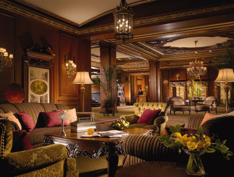 Luxurious lobby at Omni Parker House Hotel