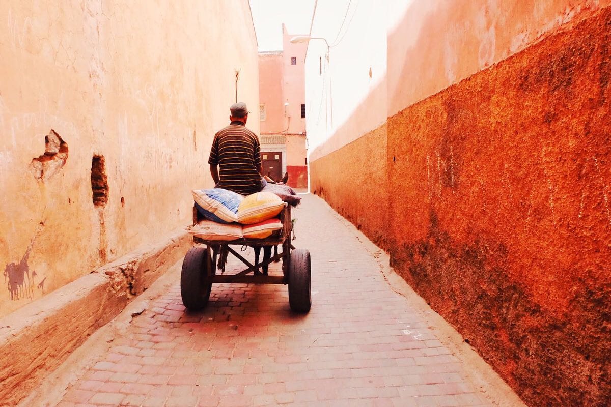 A vibrant street in Marrakesh's Old Medina.