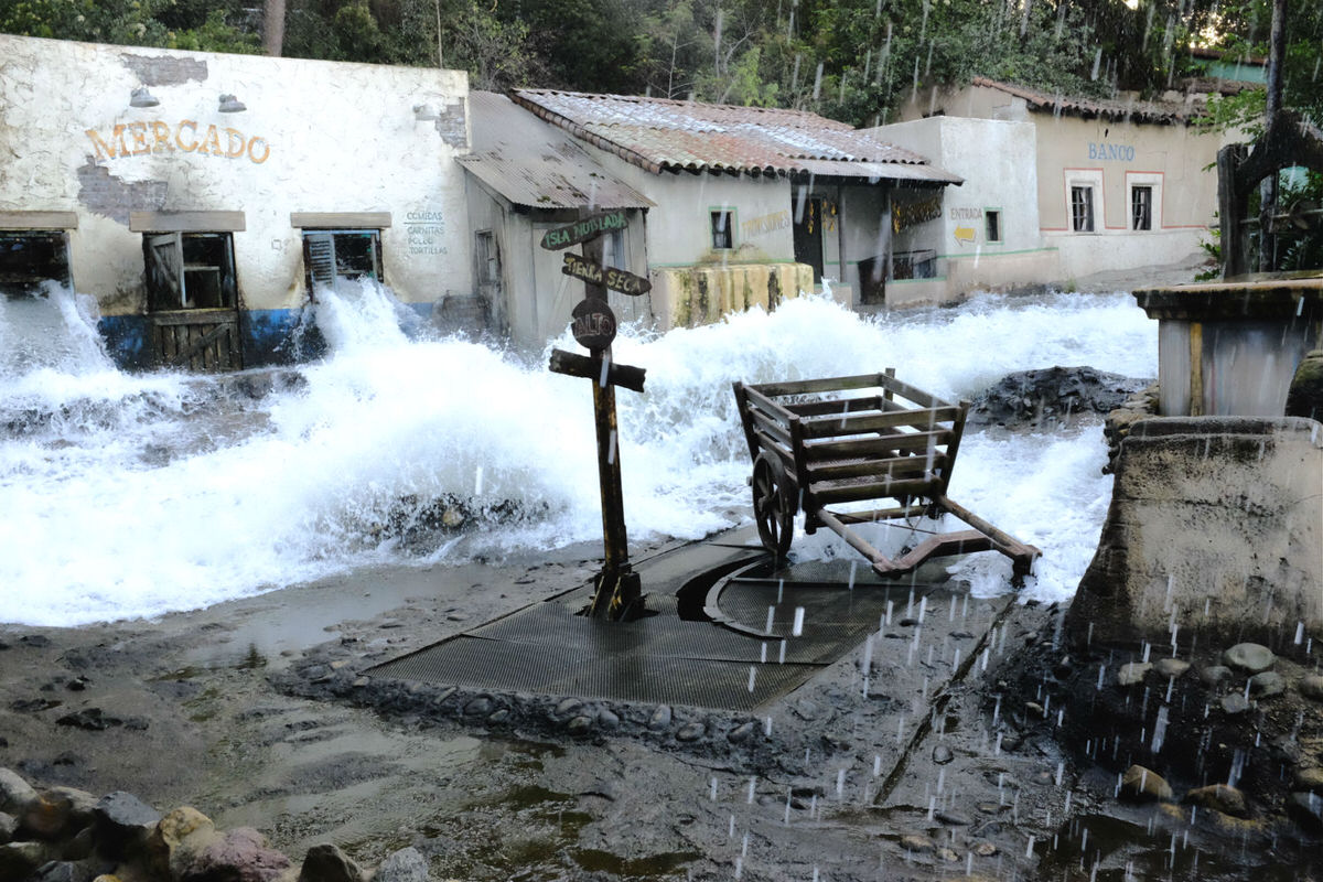 Find out what it's like when storm and flooding hits a movie set.
