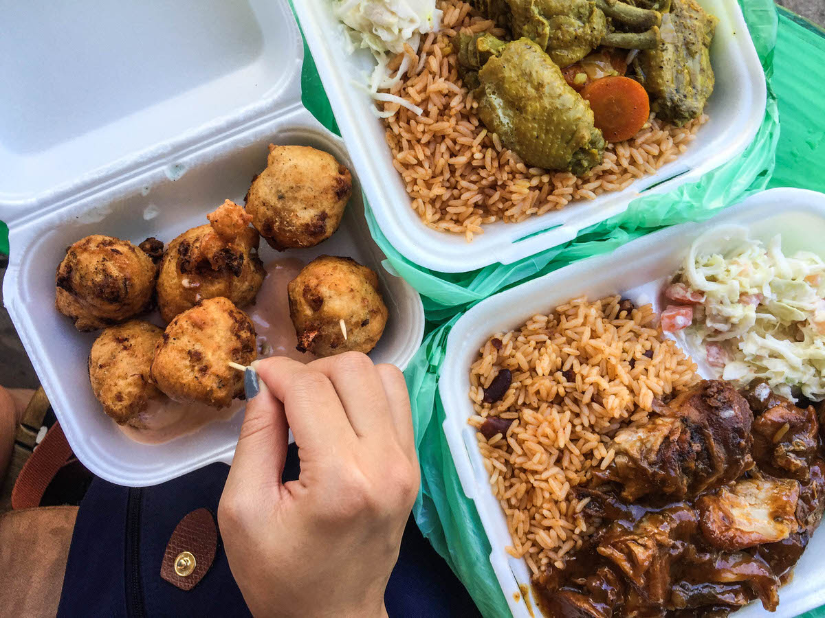 Conch fritters, jerk chicken and Bahamian rice