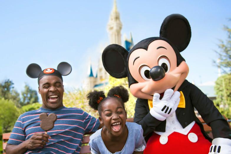 Family with Mickey at Disney World
