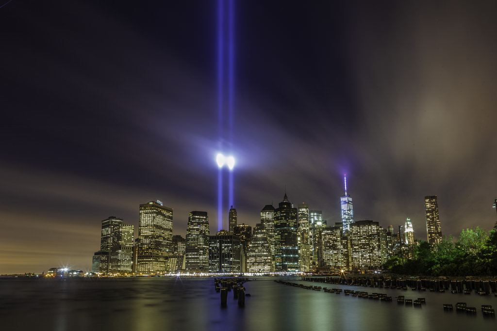 Twin beams rises over the NYC skyline in September 11th remembrance.