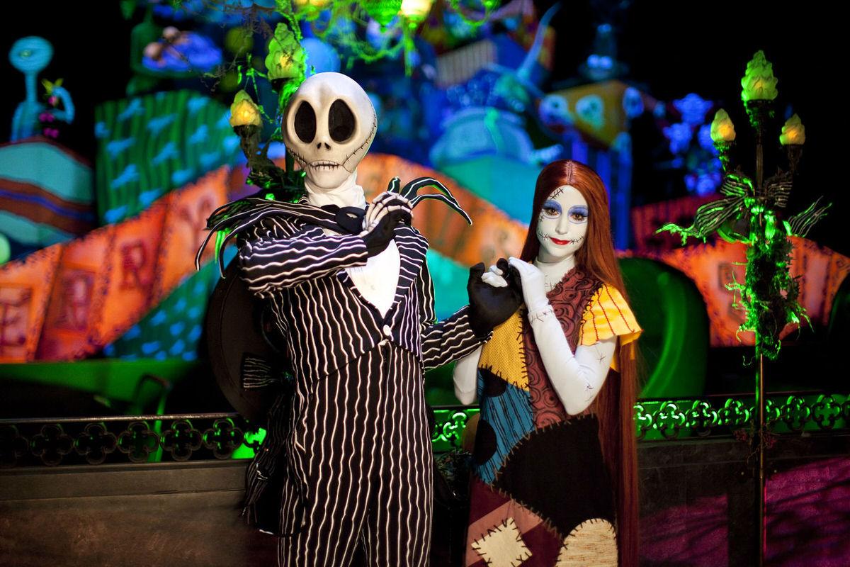 Jack Skellington and Sally at Disneyland's Halloween Time