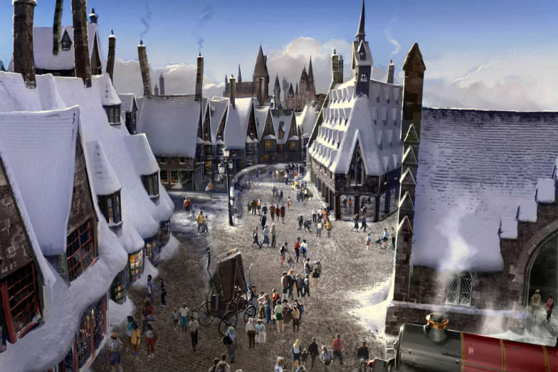 Artist rendering of the Hogwarts Castle at Universal Studios Hollywood
