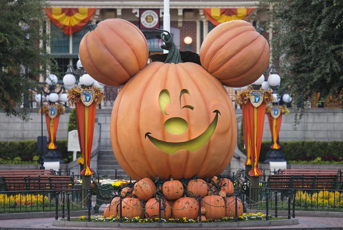 Mickey-shaped pumpkin on Main Street USA at Disneyland