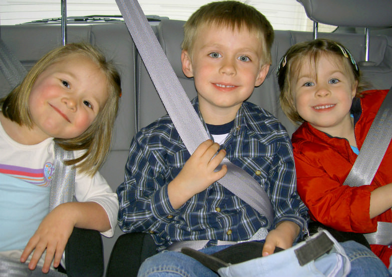 Fun and games entertain the kids during a road trip.