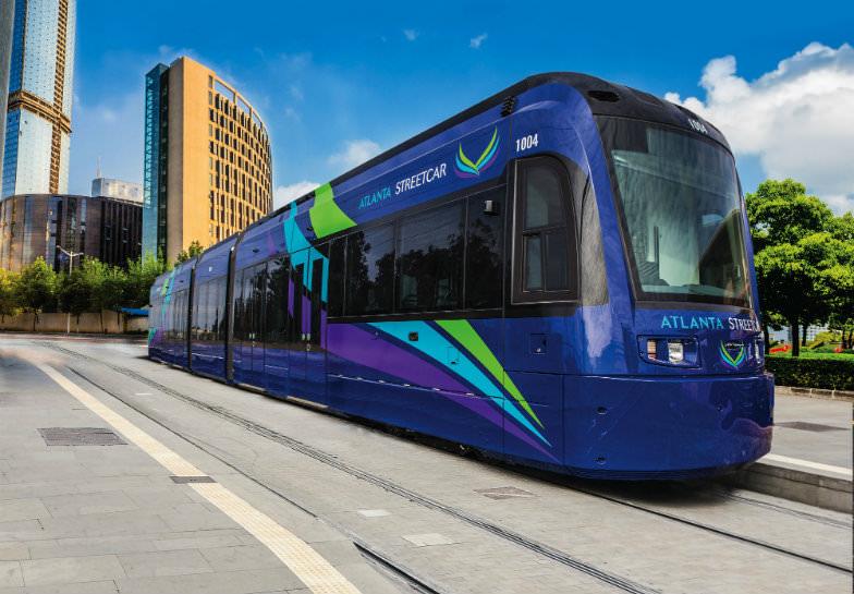 The futuristic-looking Atlanta Streetcar was built by Siemens.