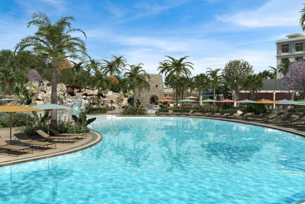 Pool and waterfalls at Loews Sapphire Falls in Universal Orlando